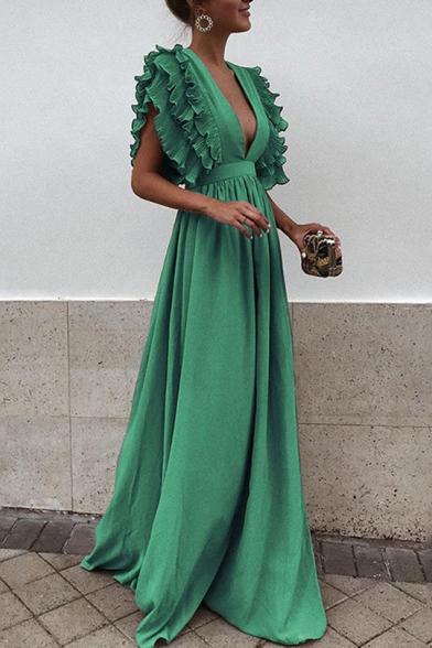 New Trendy Fashion Ruffled Hem Sexy Plunge V-Neck Solid Color Floor Length A-Line Evening Dress