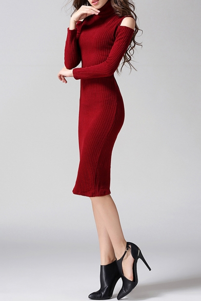 Women's New Stylish Turtle Neck Cold Shoulder Long Sleeve Simple Plain Knit Midi Sheath Dress