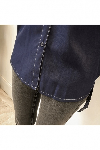 Women's Retro Contrast Stitching Double Pocket Long Sleeve Dipped Hem Button Shirt