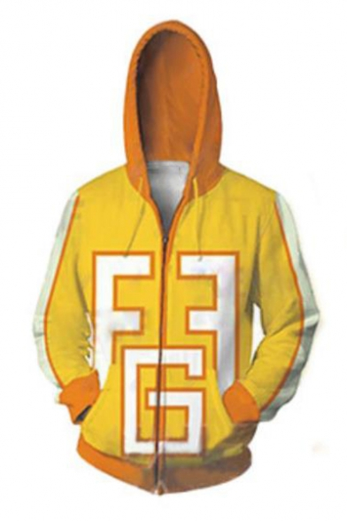 My Hero Academia Yellow 3D Colorblocked Long Sleeve Loose Fitted Zip Up Drawstring Hoodie