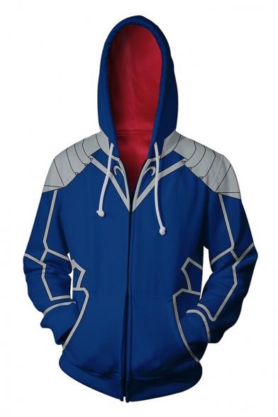 Fate 3D Comic Print Cosplay Costume Long Sleeve Full Zip Drawstring Hoodie in Blue