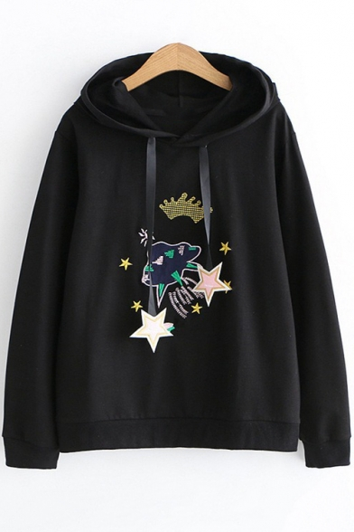 Cartoon Airship Star Embroidered Long Sleeve Loose Relaxed Drawstring Hoodie