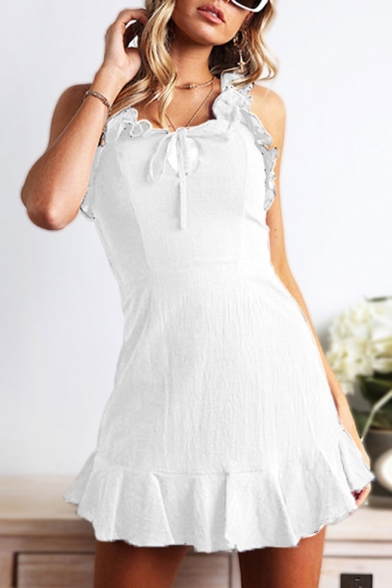 Chic Ruffled Hem Strap Bow-Tied Front Simple Plain Mini A-Line Cami Dress