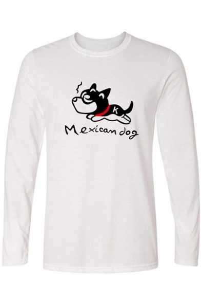 Cute Cartoon Mexican Dog Print Basic Long Sleeve Unisex T-Shirt