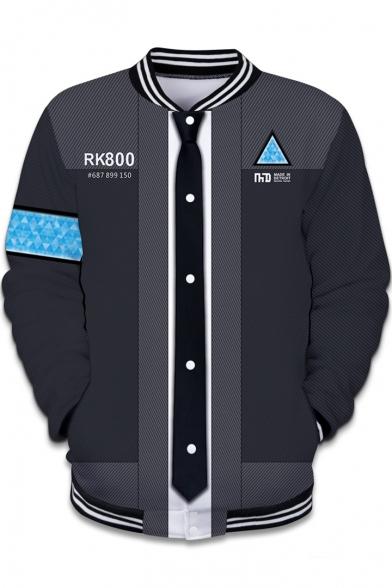 Detroit Become Human Fashion 3D Printed Rib Stand Collar Grey Baseball Jacket
