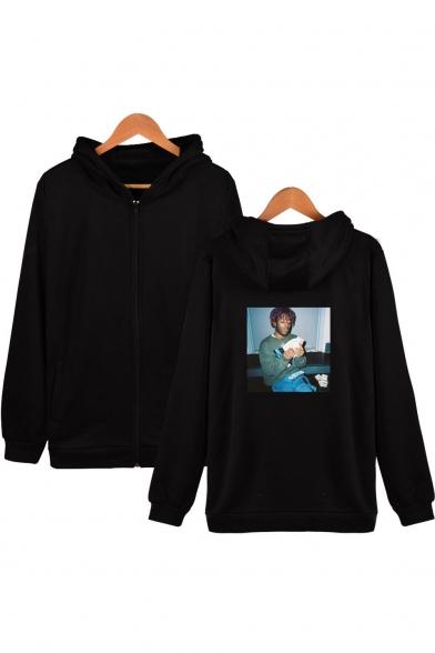 American Rapper Street Style Figure Printed Loose Fit Zip Up Hoodie