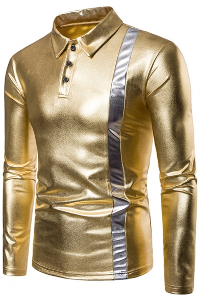 Men's Fashion Nightclub Gold Stamp Patched Long Sleeve Slim Fitted Polo