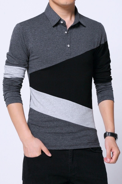 Men's High Quality Cotton Three-Button Long Sleeve Colorblock Fitted Polo Shirt