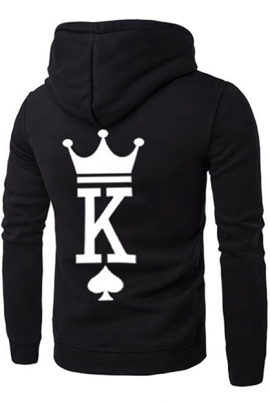 New Trendy Creative Crown King Queen Poker Print Black Hoodie for Couple