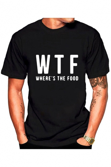 Summer Funny Letter WTF WHERE'S THE FOOD Print Basic Short Sleeve T-Shirt