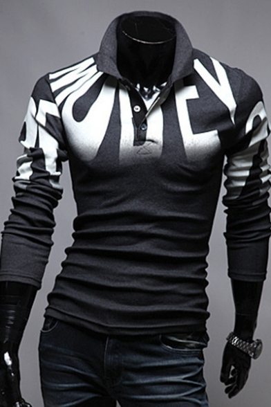 Unique Ombre Letter Printed Men's Stretch Fitted Long Sleeve Polo Shirt