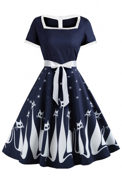 Vintage Square Neck Short Sleeve Zip Back Cartoon Cat Printed Midi Fit and Flared Dress