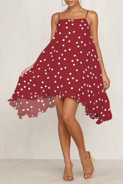 Women's Holiday Fashion Polka Dot Print Chiffon Asymmetrical Cami Dress