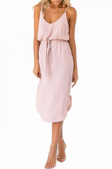 Women's Simple Plain Elastic Bow-Tied Waist Split Hem Pink Midi Cami Dress
