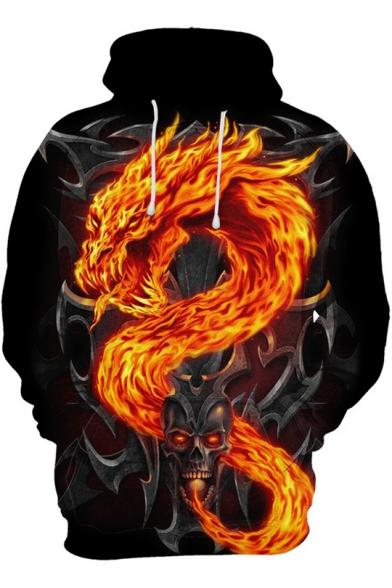 Cool 3D Fire Dragon Skull Printed Long Sleeve Loose Casual Black Hoodie