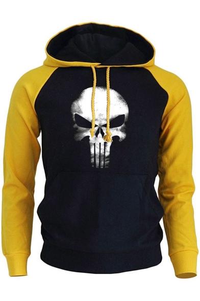 The Skull Print Colorblock Raglan Sleeve Loose Casual Drawstring Hoodie