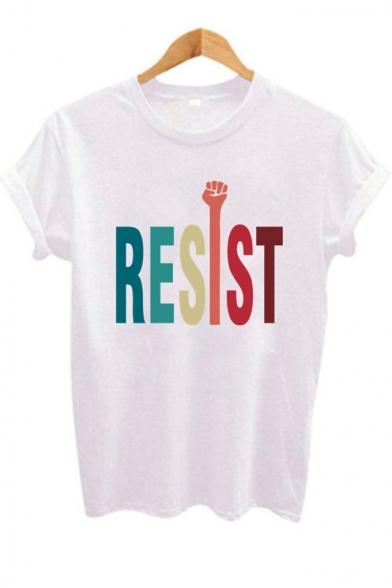 Unique Funny Hand Letter RESIST Print Round Neck White T-Shirt