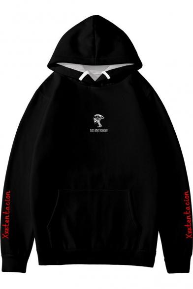 Popular American Rapper Skull Letter Printed Long Sleeve Unisex Relaxed Black Hoodie