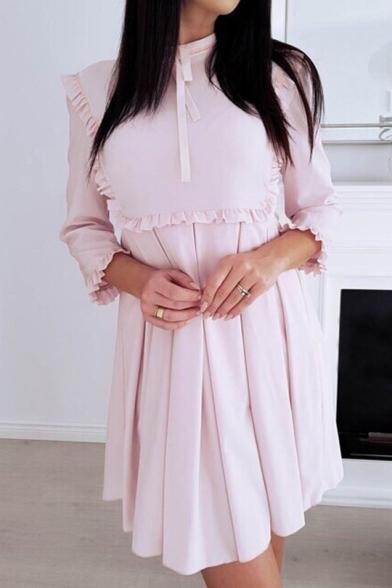 Chic Bow-Tied Collar Three-Quarter Sleeve Ruffle Trim Mini A-Line Plain Pleated Dress