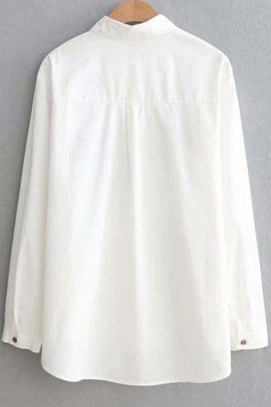 Cute Cartoon Bike Embroidery Basic Long Sleeve Loose Fit Button Down Shirt