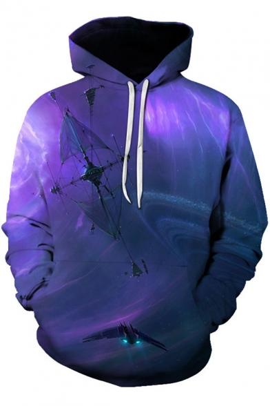 Fancy 3D Galaxy Printed Long Sleeve Casual Pullover Drawstring Hoodie