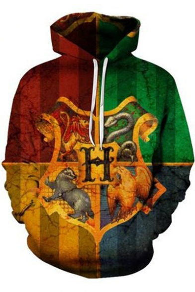 Harry Potter Hogwarts Logo Print Fashion 3D Colorblock Long Sleeve Drawstring Hoodie