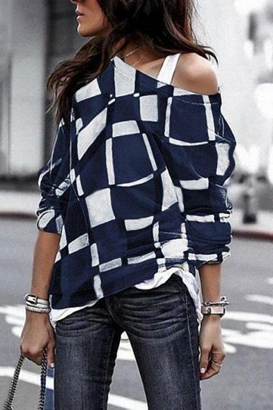 Sexy One Shoulder Classic Plaid Print Long Sleeve Loose Fit T-Shirt for Women