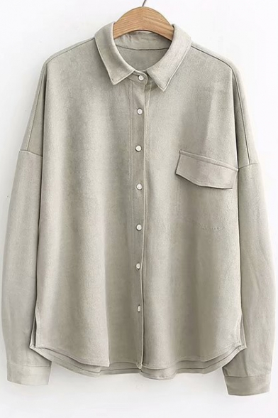 Simple Plain Lapel Collar One Pocket Casual Oxford Cotton Shirt