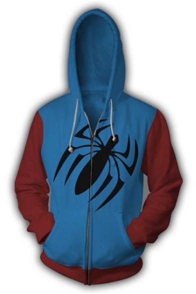 3D Colorblocked Cosplay Costume Comic Long Sleeve Zip Up Blue Hoodie