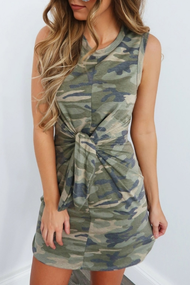 Summer Cool Camo Pattern Round Neck Sleeveless Tied Waist Mini Army Green Tank Dress