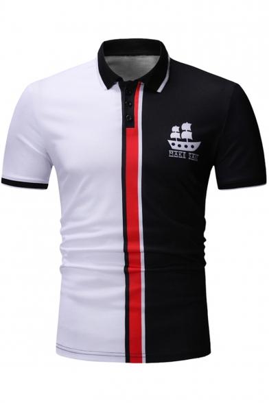 Summer New Stylish Sailing Boat Logo Chest Colorblock Short Sleeve Men Slim Fit Polo Shirt