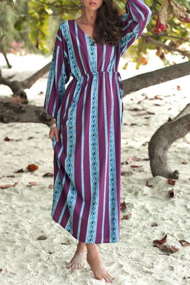 Trendy Ethnic Pattern V-Neck Long Sleeve Tied-Waist Maxi Purple Sheath Dress for Women