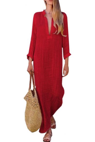 Women's Stylish Simple Plain V-Neck Long Sleeve Maxi Linen Shift Kaftan Dress