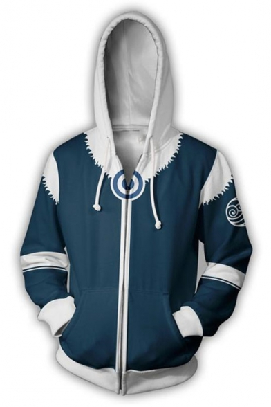 Avatar 3D Printing Cosplay Costume Zip Up Blue Fitted Drawstring Hoodie