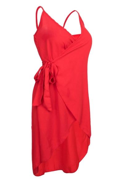 Basic Simple Plain Bow-Tied Waist Midi Wrap Slip Dress for Women