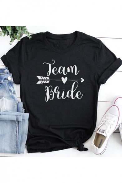 Black Heart Arrow Letter TEAM BRIDE Print Basic Short Sleeve T-Shirt