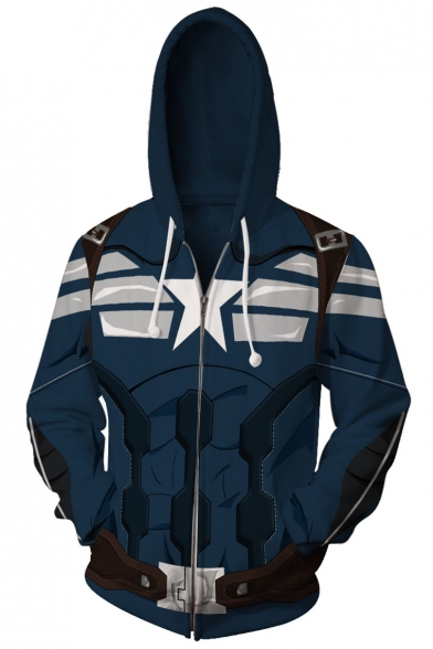 Captain America 3D Print Long Sleeve Cosplay Costume Blue Zip Up Fitted Hoodie