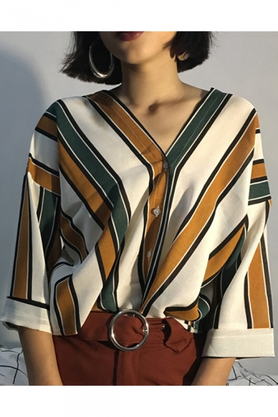 Classic Striped Printed Three-Quarter Sleeve V-Neck Button Down Shirt for Women
