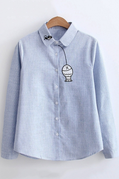 Cute Cartoon Cat Fish Embroidered Long Sleeve Button Down Striped Shirt