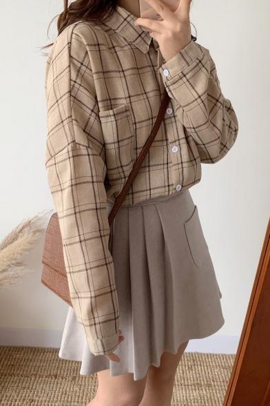 Retro Fashion Check Pattern Lapel Collar Long Sleeve Button Down Shirt