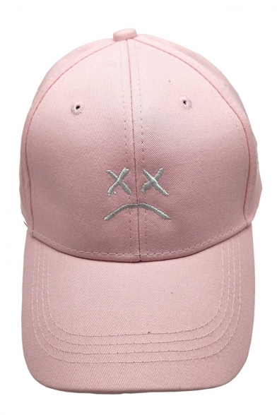Street Style Sad Face Embroidered Outdoor Unisex Baseball Cap
