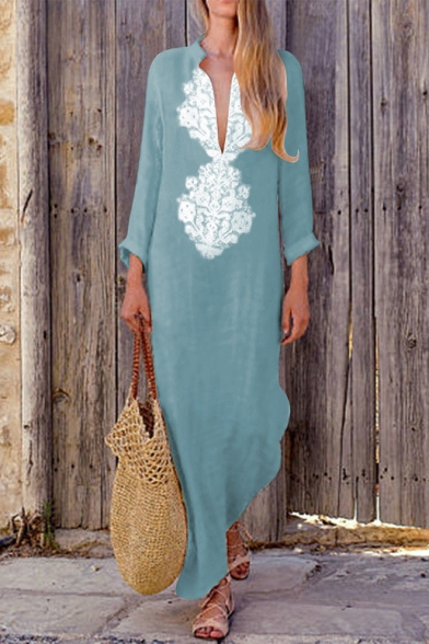 Summer Fashion Lace-Trimmed V-Neck Long Sleeve Maxi Linen Dress for Women