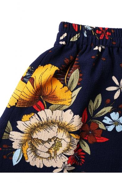 Summer Stylish Floral Printed Knotted Bandeau Top Elastic Waist Shorts Navy Chiffon Set