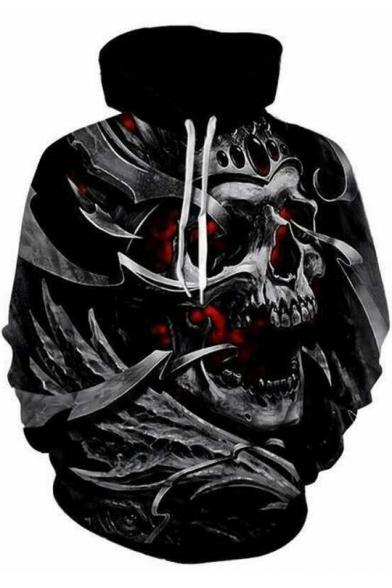 Trendy Black 3D Skull Pattern Long Sleeve Pullover Drawstring Hoodie