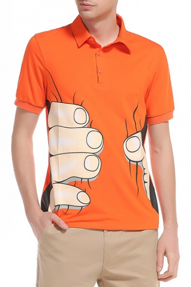 Funny Hand Finger Printed Short Sleeve Loose Casual Polo Shirt for Men