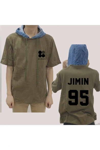 Kpop Fashion Denim Patched Short Sleeve Drawstring Hooded T-Shirt in Army Green LC504231 фото