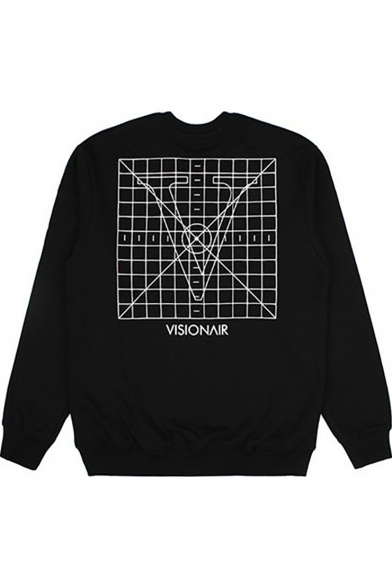 Kpop SUGA Hand Letter Print Crewneck Long Sleeve Black Sweatshirt