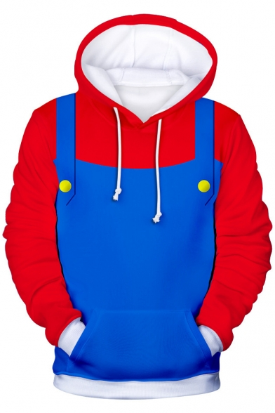 Mario Cosplay Costume Colorblocked Long Sleeve Blue and Red Drawstring Hoodie