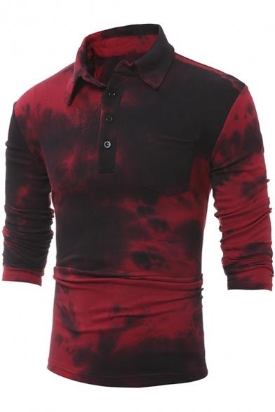 Men's Classic Retro Tie Dye Single Pocket Slim Fitted Long Sleeve Burgundy Polo Shirt
