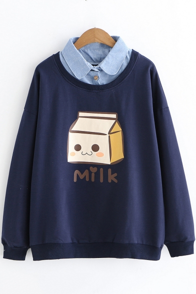 Patched Collar Long Sleeve Cartoon Milk Box Pullover Sweatshirt for Students